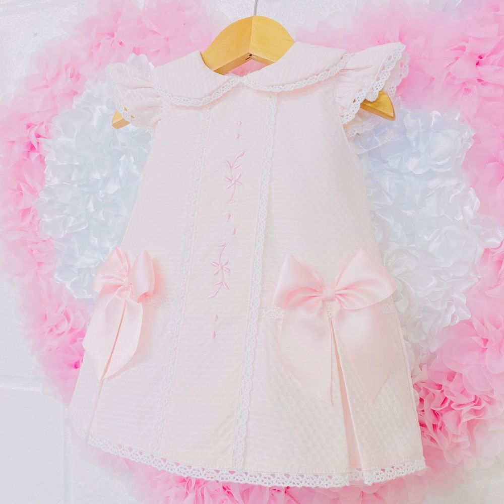 *SALE* Gorgeous Baby Girl Pink Spanish Bow Dress Embroidery Front